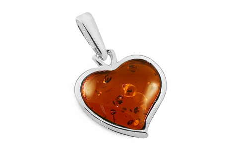 Silver Heart pendant with amber  - IS4107