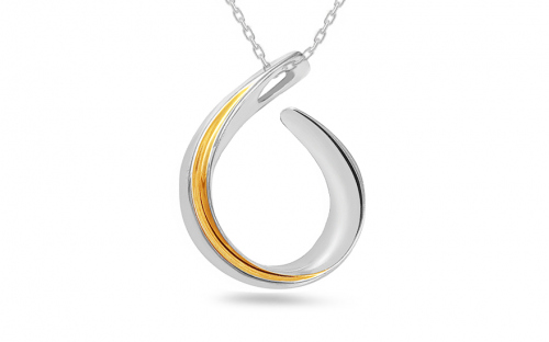 pendant  925Silver combined Rhodium and gold plated - IS638P