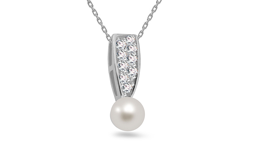 White Pearl pendant decorated with cubic zirconia on 925Sterling Silver Rhodium plated - IS577P