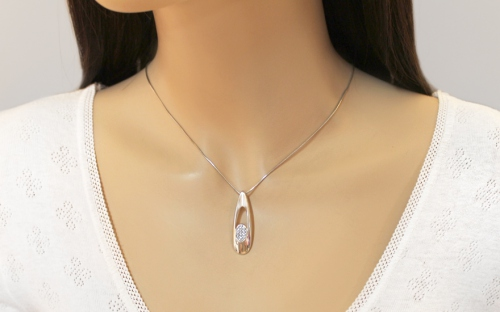 925 Silver Rhodium plated decorated with Cubic zirconia  Pendant for Ladies - IS978P - on a mannequin