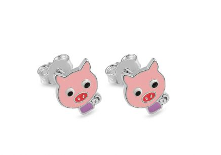 Silver stud Childrens Earrings Pigs - IS2412