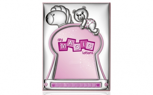 Silver plated photo frame with pink teddy bear - W5135RA