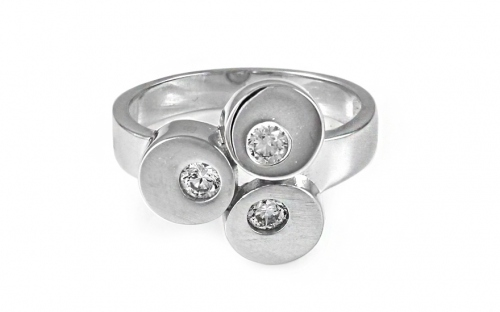 Rhodium plated Silver ring with decorated zirconia - IS612PN