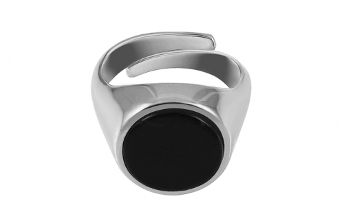 Silver ring with black stone - IS2596C