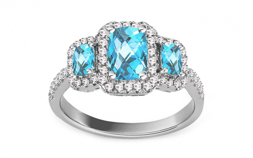 Silver ring with blue and clear zircons - IS2792M
