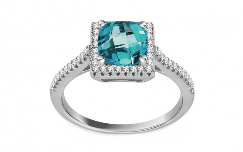 Silver ring with blue and clear zircons - IS2785