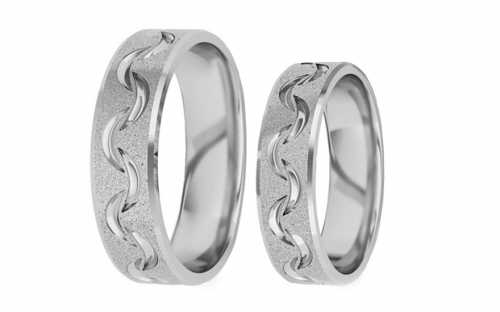 Rhodium plated sterling Silver rings sanded width of 5 mm - STOB129AG