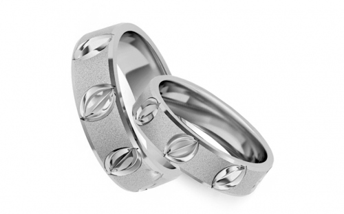 Rhodium plated sterling Silver rings sanded width of 5 mm - STOB131AG