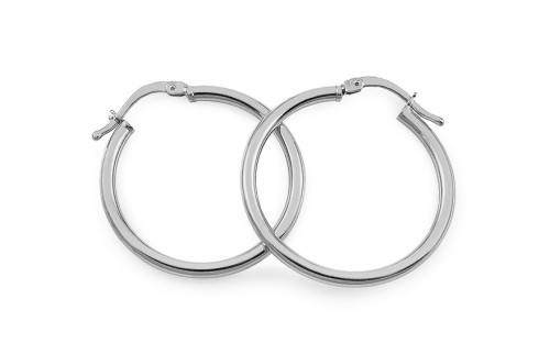 Rhodium plated Silver earrings 2.5 cm - IS270
