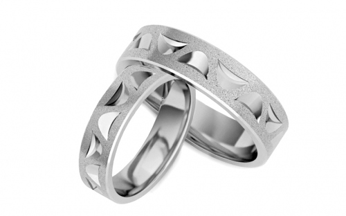 Rhodium plated sterling Silver wedding rings sanded 5 mm - STOB132AG