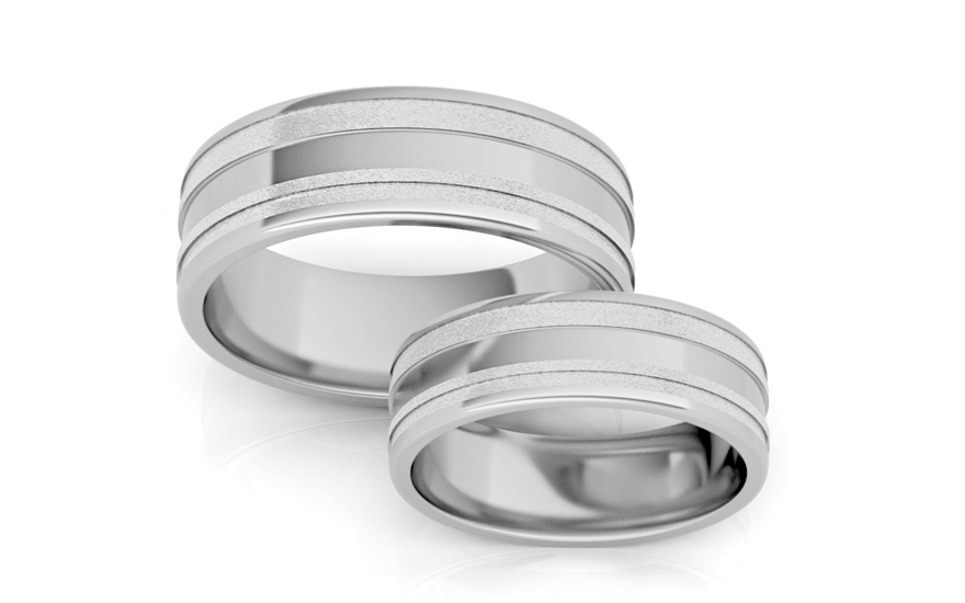 Rhodium plated Sterling Silver wedding rings width 7 mm - STOB14AG