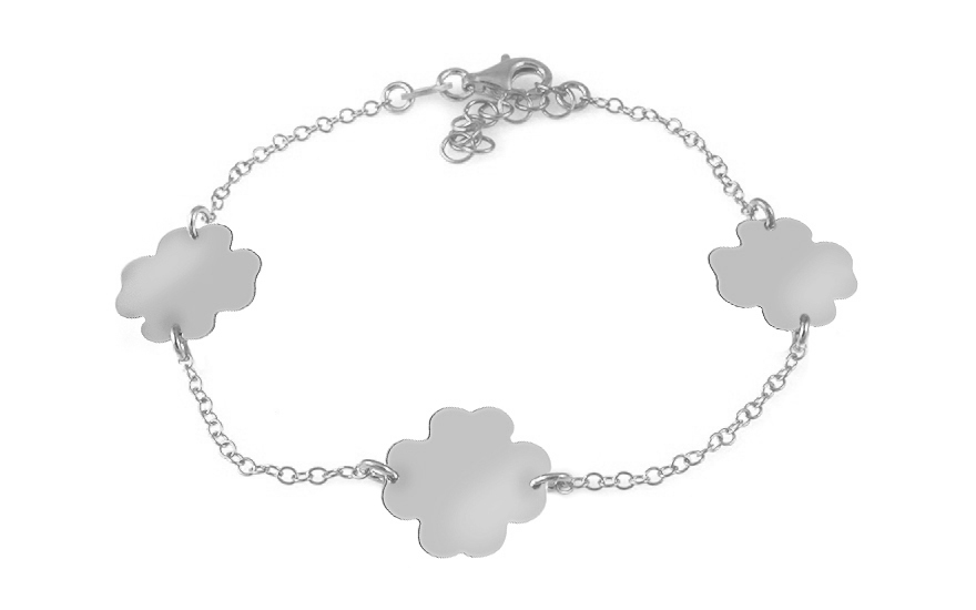 Sterling Silver Bracelet Lucky Four Leaf Clovers - IS1125A