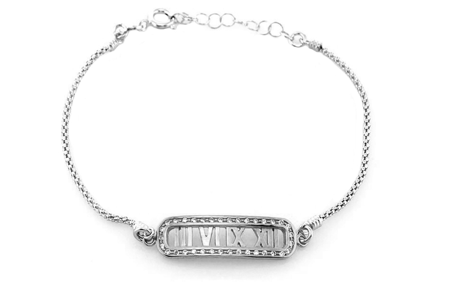 Sterling Silver Bracelet Time White with Cubic Zirconia - IS367AN