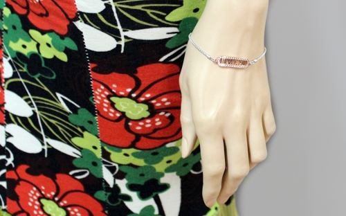 Sterling Silver Bracelet Time with Cubic Zirconia - IS367N - on a mannequin