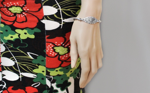 Sterling Silver Bracelet with Punched Plate - IS471 - on a mannequin