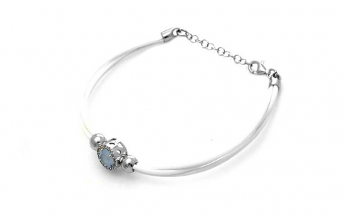 Sterling Silver Bracelet with White Stones
