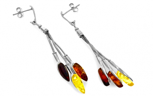 Sterling Silver Earrings with Amber - IS105