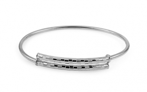 Sterling Silver Hoop Bracelet White - IS1861