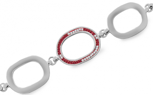 Sterling Silver Lady's Bracelet with Pink Cubic Zirconia
