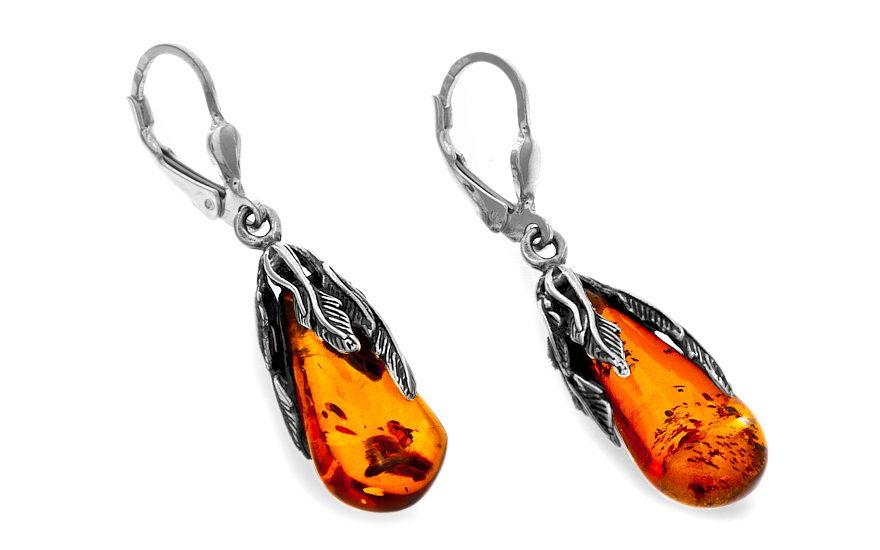 Sterling Silver Women's Dangling Earrings with Amber - IS104