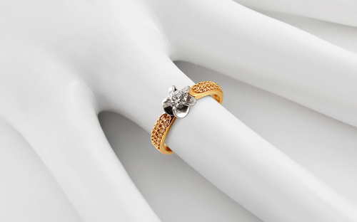 "Two-Tone Engagement Ring with Zircons ""Isarel 15"" - CSRI961"