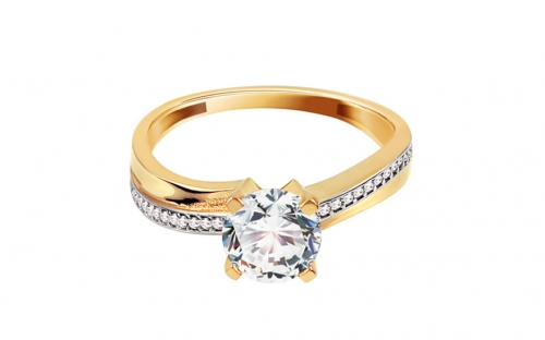 "Two-Tone Engagement Ring with Zircons ""Zuri"" - IZ11291"