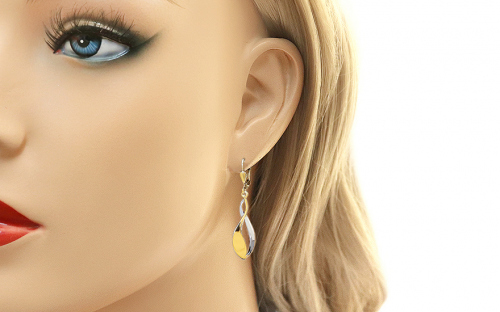 Two Tone Gold Dangle Earrings - IZ11343 - on a mannequin