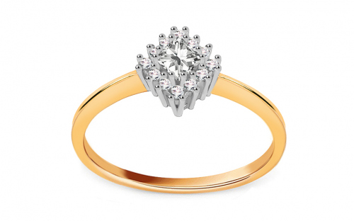 "Two-Tone Gold Engagement Ring with Zircons ""Diane 3"" - CS9RI1915"