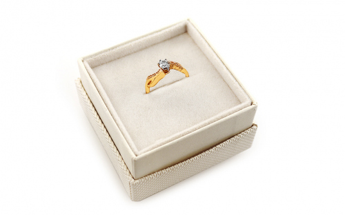 "Two-Tone Gold Engagement Ring with Zircons ""Isarel 14"" - CSRI802 - in a box"