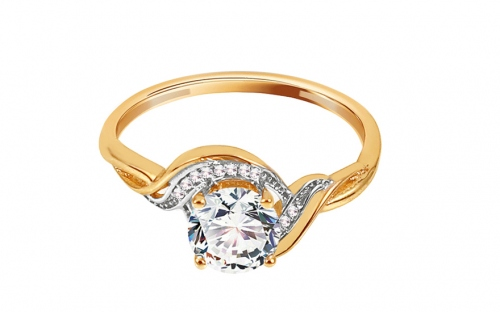 "Two-Tone Gold Engagement Ring with Zircons ""Meghan"" - IZ11292"