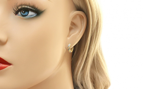 Two Tone Gold Engraved Latch Back Earrings - IZ11351 - on a mannequin