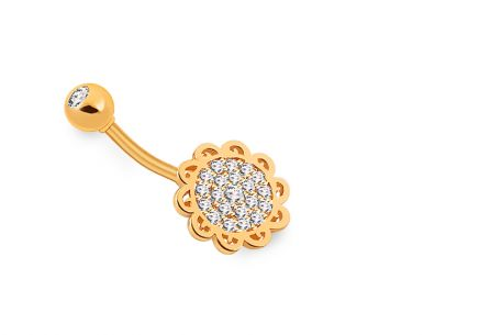 Golden navel floral piercing with zircons