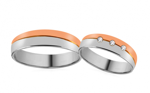Wedding Bands Two Tone with Stones width 5 mm - RYOB042