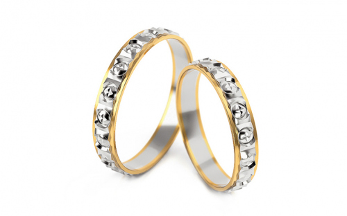 Wedding rings with engraved pattern 3 mm wide - STOB303