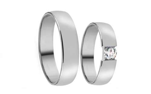 Wedding bands with stones width 4mm - RYOB017