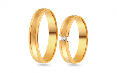 Wedding bands with stones width 4mm - RYOB085