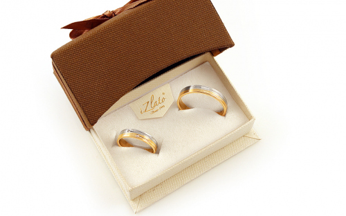 Wedding bands with stones width 4mm - STOB223 - in a box