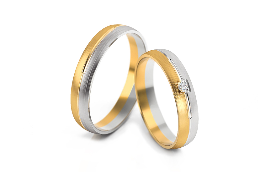 Wedding bands with stones width 4mm - STOB236