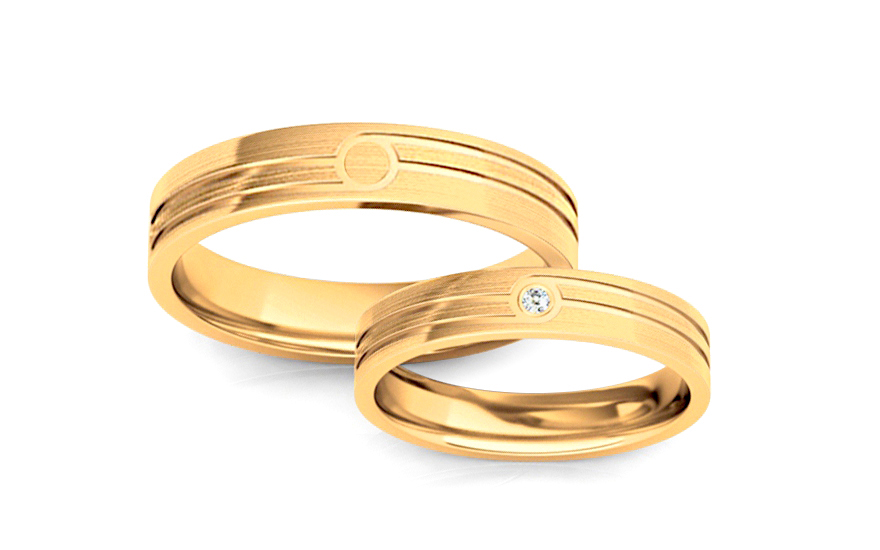 Wedding bands with stones width 4mm - STOB209