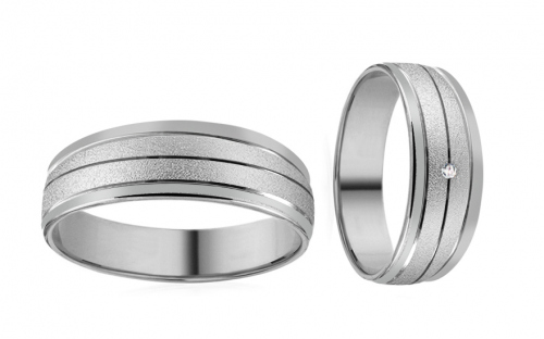 Wedding bands with stones width 5mm - RYOB208
