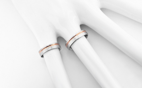 Wedding bands with stones width 5mm - RYOB008