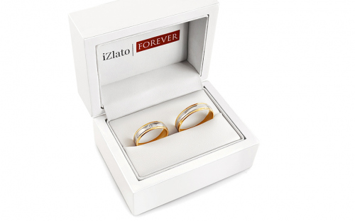 Wedding bands with stones width 5mm - STOB255 - in a box