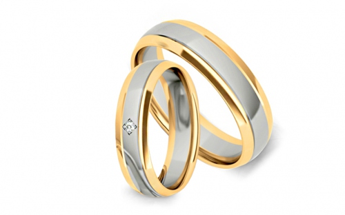 Wedding bands with stones width 5mm - STOB255
