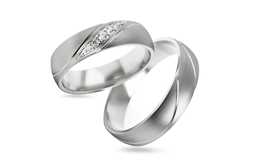 Wedding bands with stones width 5 mm - STOB284