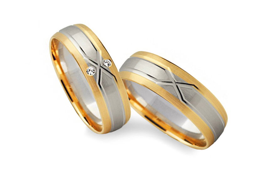 Wedding bands with stones width 5mm - STOB235