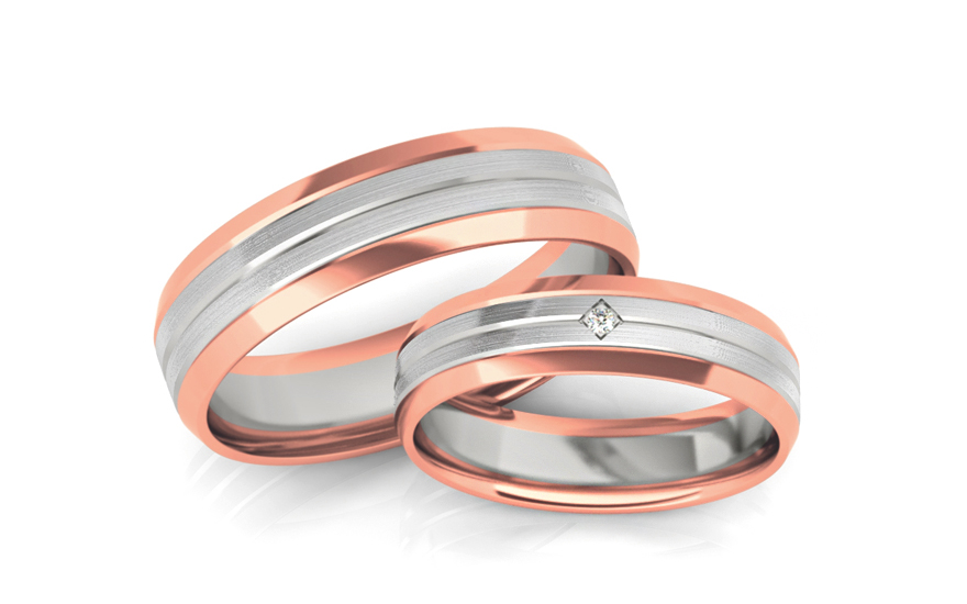 Wedding bands with stones width 5mm - STOB240R