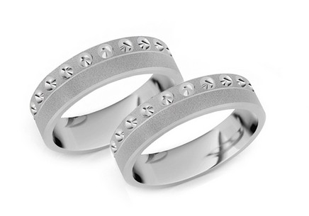 Rhodium plated sterling silver Matt engagement rings