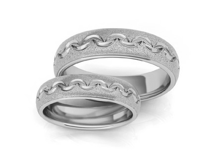 Rhodium plated sterling Silver rings sanded