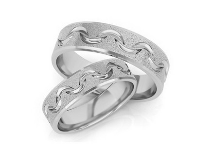 Rhodium plated sterling Silver rings sanded width of 5 mm
