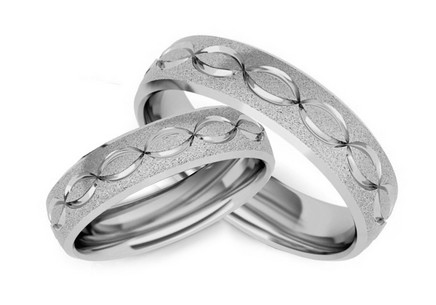 Rhodium plated sterling Silver wedding rings pattern infinity
